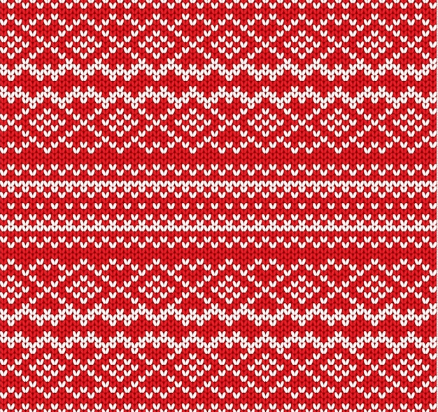 Dzianiny Ornament Geometryczny Wzór. Projekt Dzianiny Rzemieślniczej. Sweter Z Dzianiny Zimowej W Kolorze Czerwonym. Premium Wektorów
