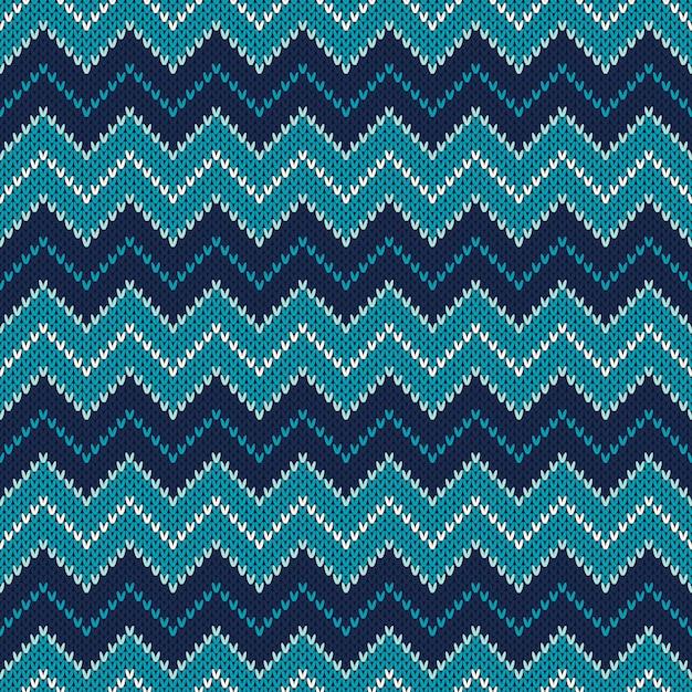 Dzianiny Wzór Chevron. Sweter W Stylu Fair Isle. Streszczenie Bezszwowe Tło Z Dzianiny Premium Wektorów