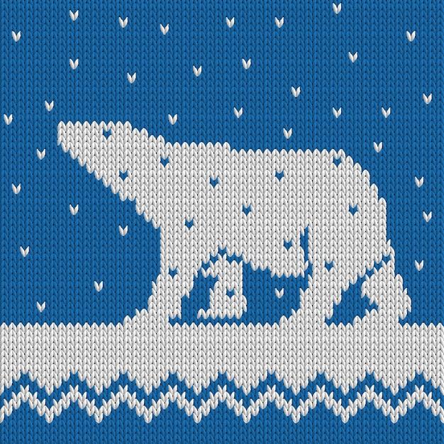 Dzianiny Zimowe Niebieski Wzór Z Niedźwiedzia Polarnego Ze śniegiem Premium Wektorów