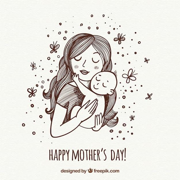Dzień matki tło z szczęśliwą rodziną Darmowych Wektorów