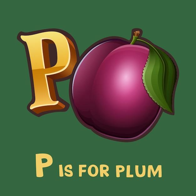 Dzieci Alfabet Litery P I śliwki Premium Wektorów