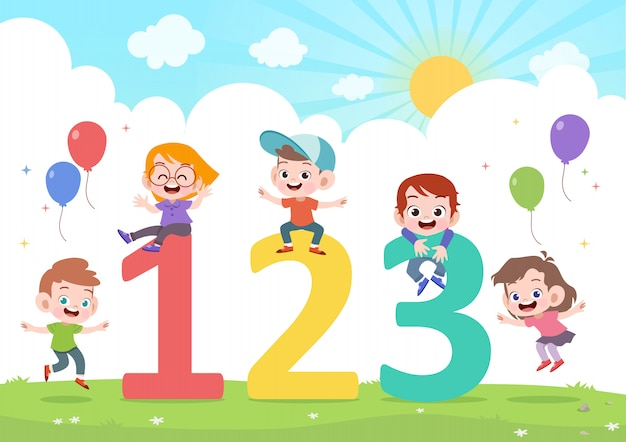 Dzieci bawią się ilustracji wektorowych numer Premium Wektorów