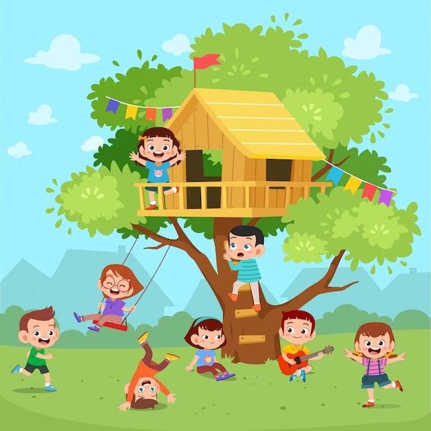 Dzieci Bawią Się W Domku Na Drzewie Premium Wektorów