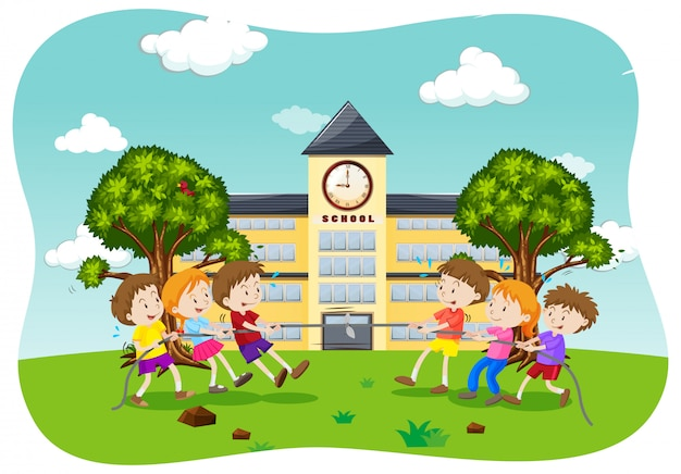 Dzieci Bawią Się W Przeciąganie Liny Premium Wektorów