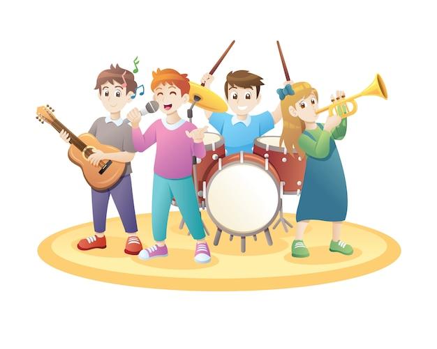 Dzieci bawiące się muzyką Premium Wektorów