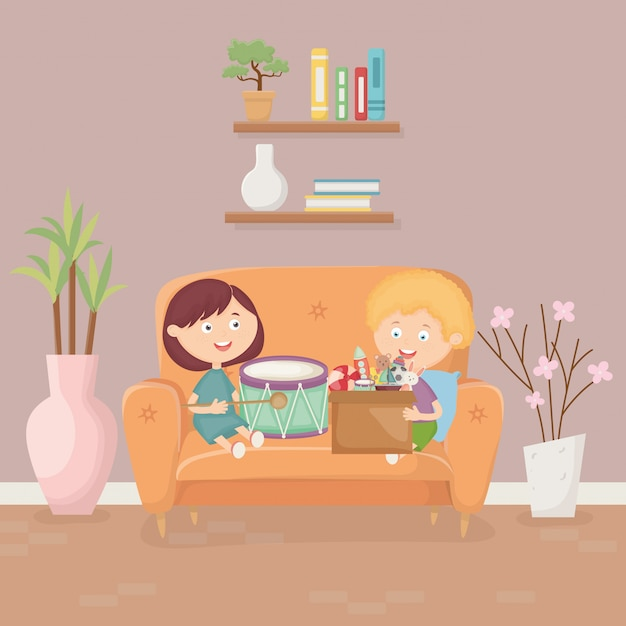 Dzieci bawiące się na kanapie w salonie z zabawkami Premium Wektorów