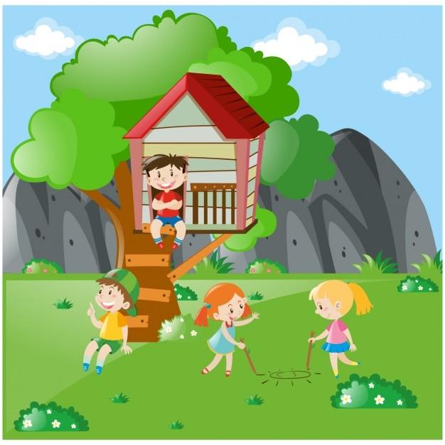 Dzieci bawiące się na łące Darmowych Wektorów