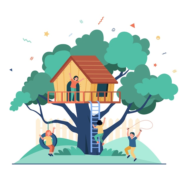 Dzieci Bawiące Się Na Placu Zabaw Z Domkiem Na Drzewie. Chłopcy I Dziewczęta Cieszą Się Wakacjami, Bawią Się W Domu Na Drzewie. Darmowych Wektorów