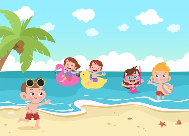 Dzieci bawiące się na plaży ilustracji Premium Wektorów