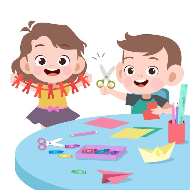 Dzieci Bawiące Się Razem Ilustracji Wektorowych Premium Wektorów