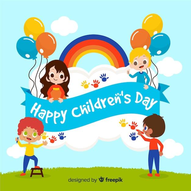 Dzieci bawiące się ręcznie rysowane tła Darmowych Wektorów