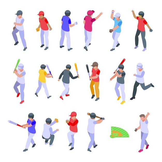 Dzieci Bawiące Się W Baseball Zestaw Ikon. Izometryczny Zestaw Dzieci Grających W Baseball Ikony Dla Sieci Web Premium Wektorów
