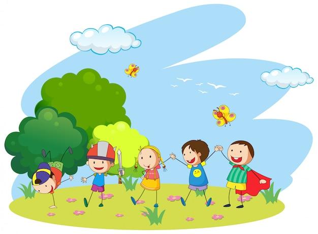 Dzieci bawiące się w ogrodzie Darmowych Wektorów