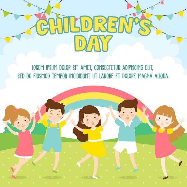 Dzieci bawiące się w parku - dzień dziecka Premium Wektorów
