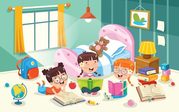 Dzieci Bawiące Się W Pokoju Premium Wektorów