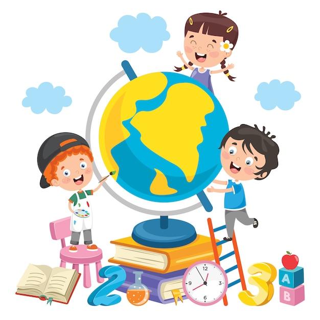 Dzieci bawiące się z ziemią Premium Wektorów