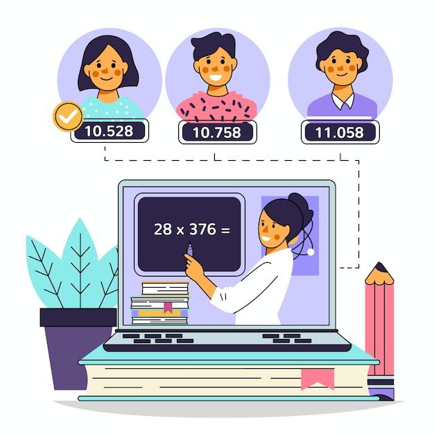 Dzieci Biorące Lekcje Online Premium Wektorów