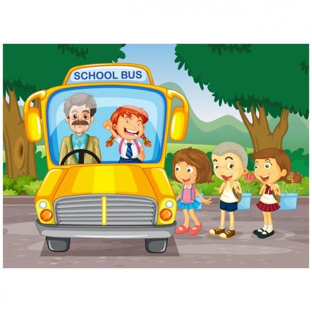 Dzieci Biorące Tło School Bus Premium Wektorów
