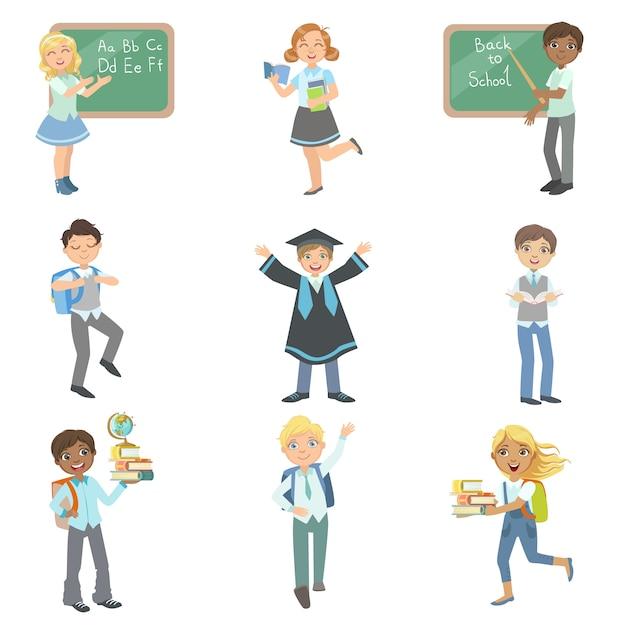 Dzieci Chętnie Chodzą Do Szkoły Premium Wektorów