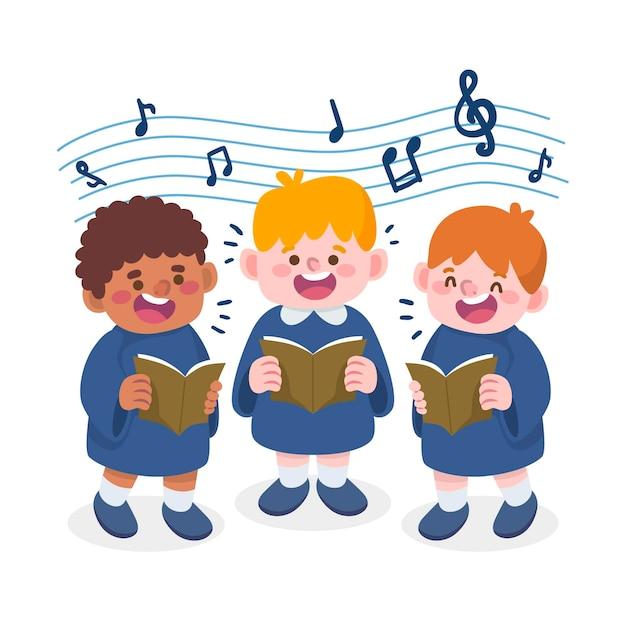 Dzieci Chór śpiewający Styl Kreskówki Darmowych Wektorów