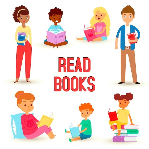 Dzieci, Czytając Książki I Ciesząc Się Literaturą, Ustawiają Szczęśliwych Chłopców I Dziewczynki Premium Wektorów