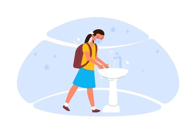 Dzieci Do Mycia Rąk W Koncepcji Szkoły Darmowych Wektorów
