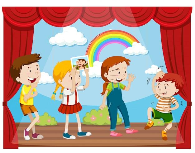 Dzieci działające na scenie Darmowych Wektorów