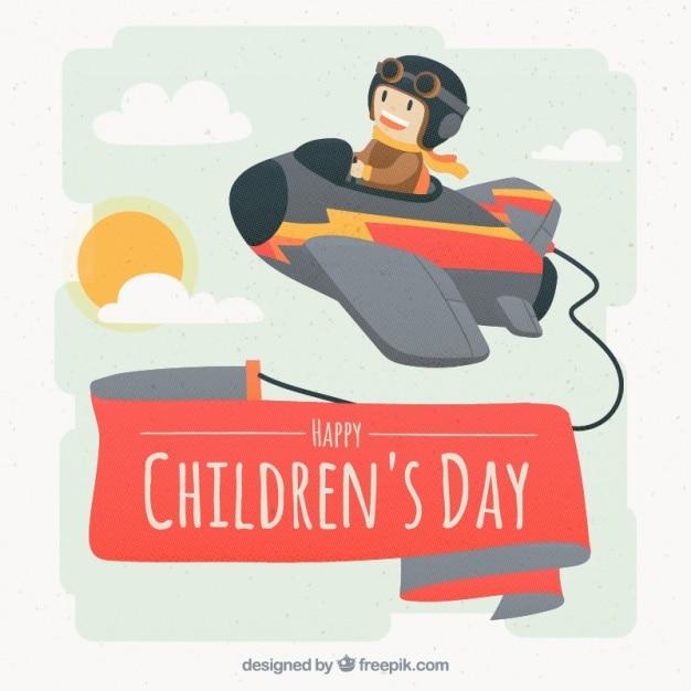 Dzieci Dzień Tła Z Niewielkim Lotnik Darmowych Wektorów