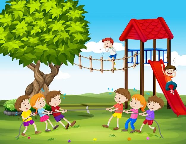 Dzieci Grające Na Holu Na Ilustracji Plac Zabaw | Premium Wektor