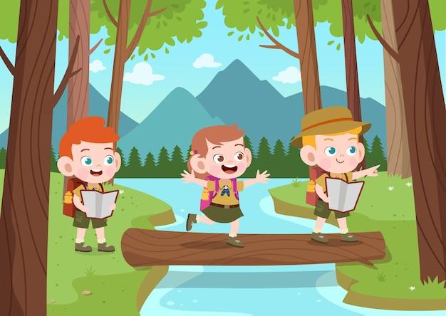 Dzieci harcerze przy obozową ilustracją Premium Wektorów