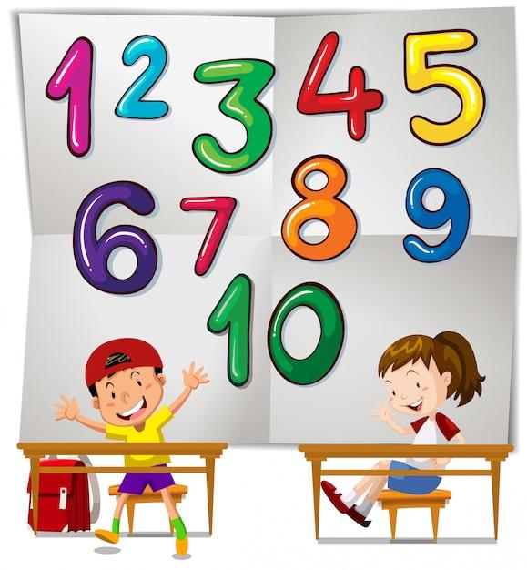 Dzieci I Liczby Od Jednego Do Dziesięciu   Darmowy Wektor