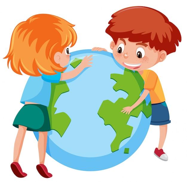 Dzieci I Planeta Ziemia | Premium Wektor