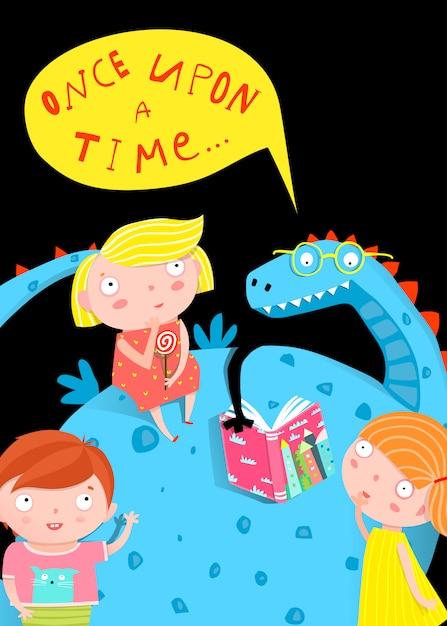 Dzieci I Smok Czytający Książkę W Nocy Premium Wektorów