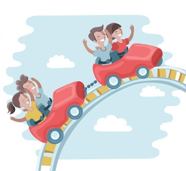 Dzieci Jeżdżą Na Kolejce Górskiej Premium Wektorów