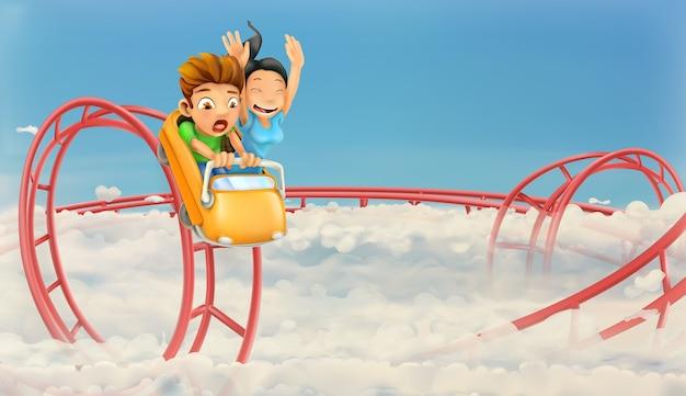 Dzieci Korzystających W Tle Roller Coaster Premium Wektorów