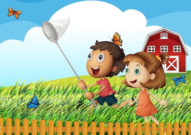 Dzieci łapiące motyle na polu Darmowych Wektorów