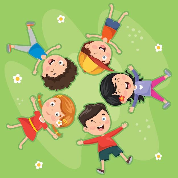 Dzieci Leżące Na Trawie Premium Wektorów