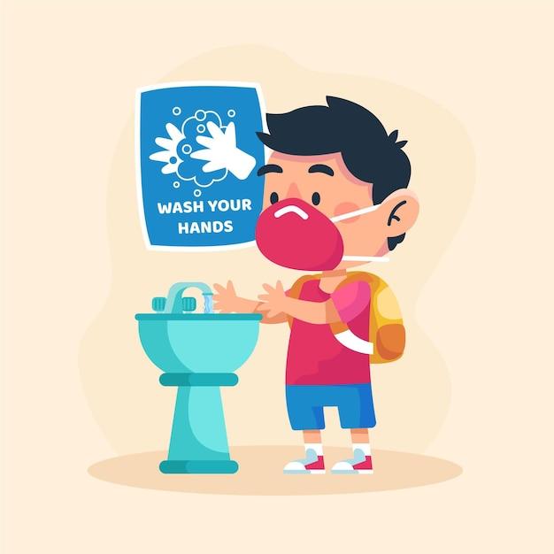 Dzieci Myją Ręce W Szkole Premium Wektorów