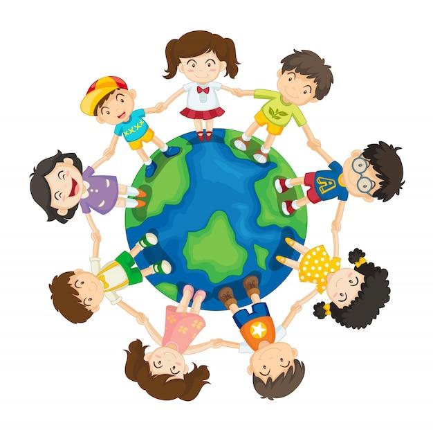 Dzieci Na Całym świecie Premium Wektorów