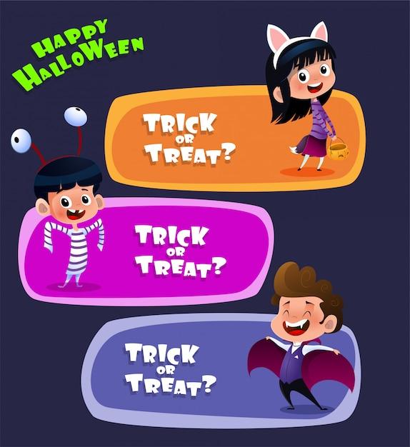 Dzieci noszące kostiumy na halloween Premium Wektorów