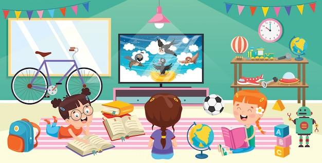 Dzieci oglądają telewizję w pokoju Premium Wektorów