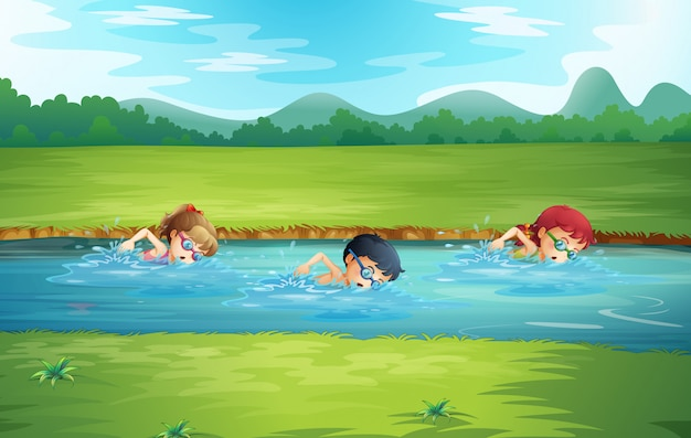 Dzieci Pływające W Rzece Darmowych Wektorów