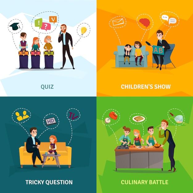Dzieci Pokaż Zestaw Ikon Koncepcji Darmowych Wektorów