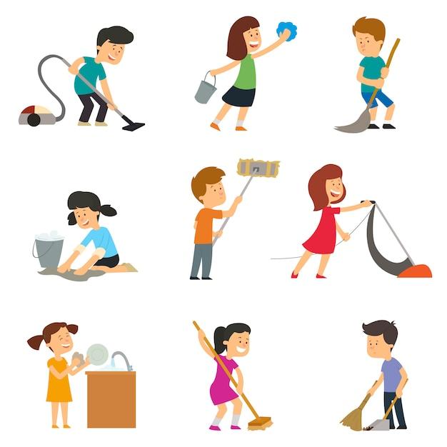 Dzieci Pomagają Rodzicom W Pracach Domowych. Ilustracji ...