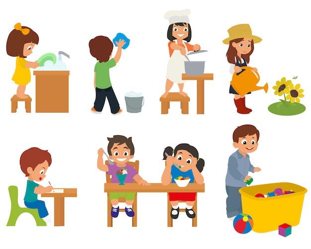 Dzieci Pomagają Rodzicom W Pracach Domowych Premium Wektorów