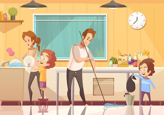 Dzieci pomagają w czyszczeniu kreskówki plakat Darmowych Wektorów