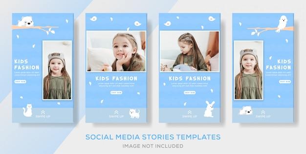 Dzieci Przechowują Banery Odzieżowe Szablon Dla Mediów Społecznościowych Premium Wektorów