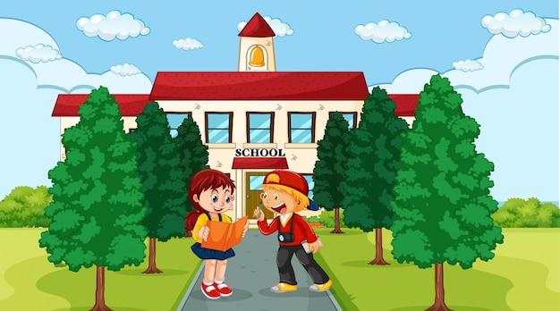 Dzieci przed szkolną sceną Darmowych Wektorów