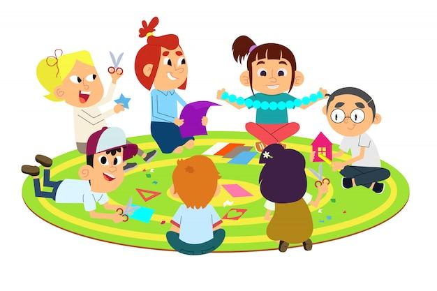 Dzieci Robią Papierowe Rękodzieło Premium Wektorów