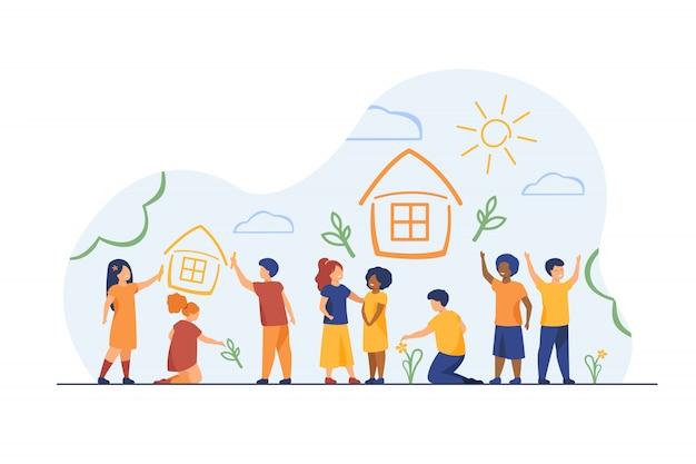 Dzieci Rysujące Do Domu Kredkami Darmowych Wektorów